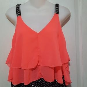 paradis miss top neon pink  woman size small